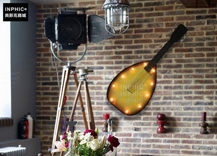 INPHIC-美式創意壁掛咖啡店裝飾品發光燈鐵藝壁飾牆飾吉他_S01902C