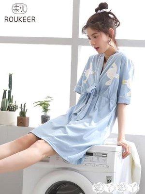 睡裙 睡裙女夏純棉中裙韓版清新學生短袖日式睡衣寬鬆甜美家居服可外穿