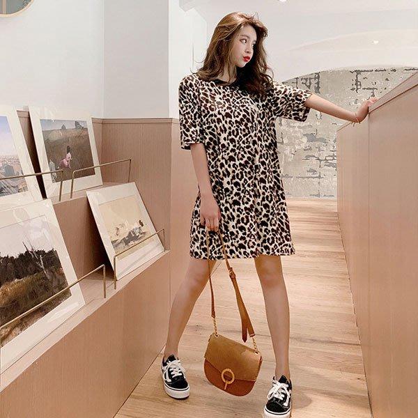 短袖洋裝 ◎ 女人心語 ◎圓領短袖豹紋連身裙 (預)ND-N-SK-K
