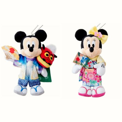 東京迪士尼 TOKYO DISNEY MICKEY MINNIE 米奇美妮老鼠 新年 和服 吊飾 **購自日本**