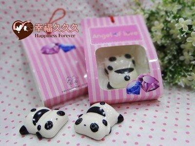 [幸福久久久]熊貓陶瓷筷架(婚禮小物/...