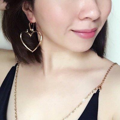 韓國飾品 歐美風簍空大小愛心可拆耳環