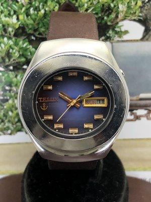 二手鐵力士TELUX 自動上鍊機械男錶 日期星期顯示(籃紫色面)
