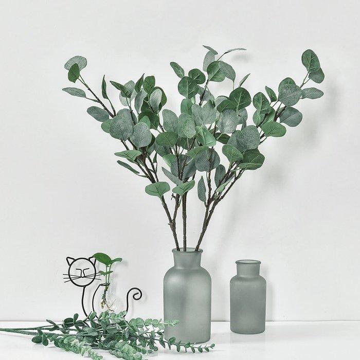 租房仿真植物仿真花仿真樹葉人造花人造葉花瓶假花假草裝飾仿真尤加利葉子綠植花束樹枝家居裝飾品綠植插花綠草墻植物