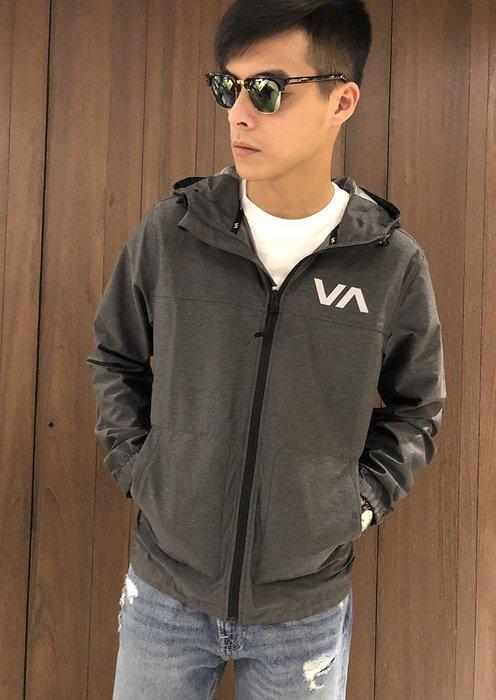 美國百分百【全新真品】RVCA 外套 連帽 風衣 夾克 防水 輕量 加州品牌 滑板潮流 黑灰色 S號 AK87