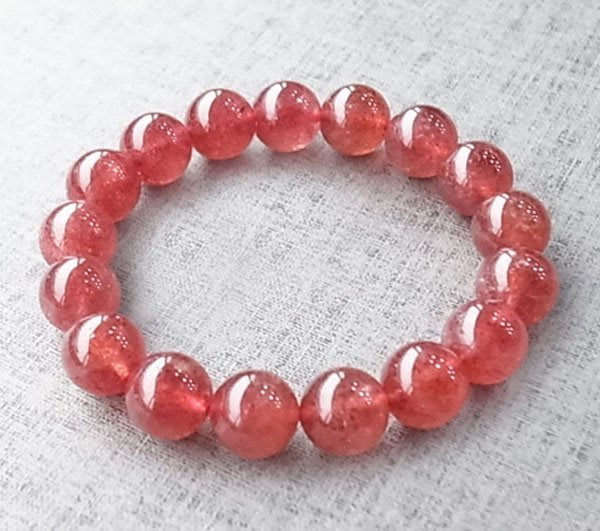 ☆采鑫天然寶石☆**陶醉@愛* 頂級草莓超七水晶(Strawberry Crystal)手鍊~極美~12.3mm