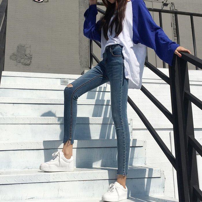 個性破洞牛仔褲女九分褲2017新品春款復古小腳緊身彈力鉛筆褲學生【快速出貨】