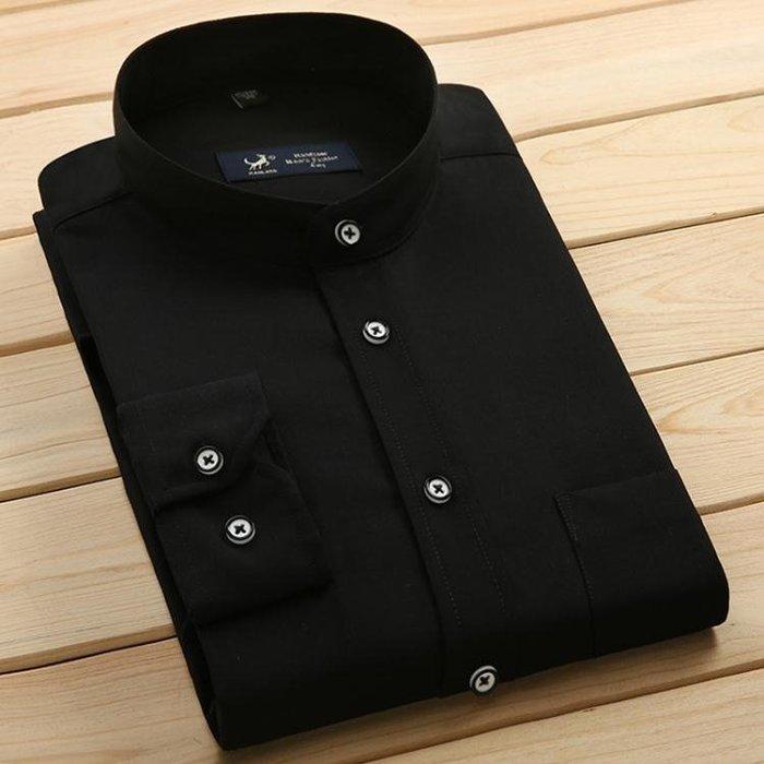 襯衫 春季裝男士長袖襯衫中華立領襯衫圓領襯衣修身商務寸衫條紋 【新生活】