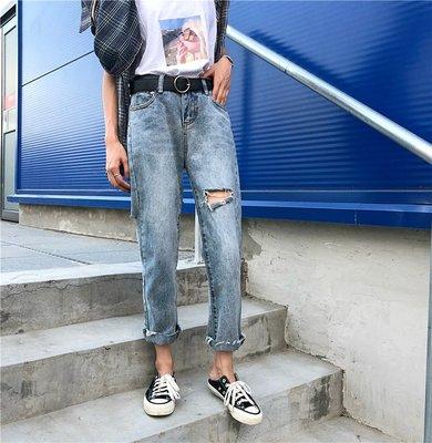 2018韓系超火的褲子 學院 前后破洞牛仔褲 高腰毛邊九分褲