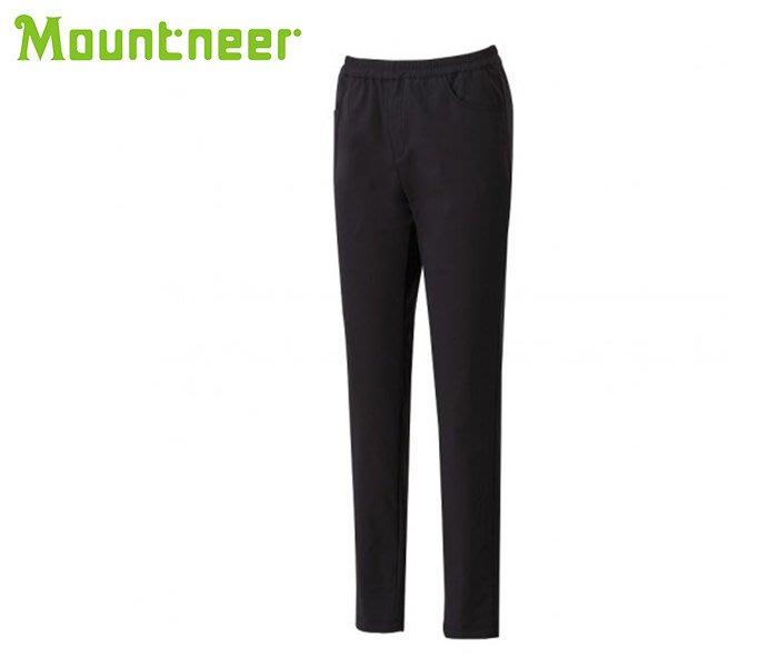 丹大戶外【Mountneer】山林休閒 女四向彈性保暖窄管褲 12S15-01 黑色