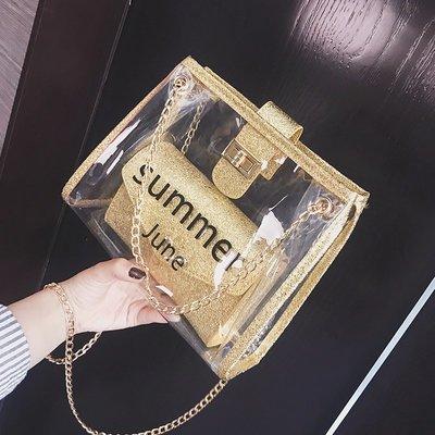 手拿包 錢夾 手提包 側背包 後背包 鏈條包包女夏季百搭透明果凍包時尚仙女子母包chic斜挎包