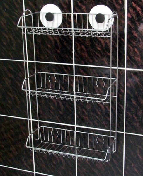 『嶄新、可靠、超黏性怪力貼』免鑽孔不鏽鋼三層置物架※主動式強力黏著性※,可拆卸換位重複使用。廚房萬用架,調味料架,瓶罐架