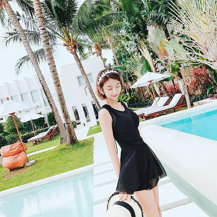 韓國Baby~游泳衣女士黑色保守連體裙式平角遮肚大碼小胸聚攏泡顯瘦溫泉泳裝