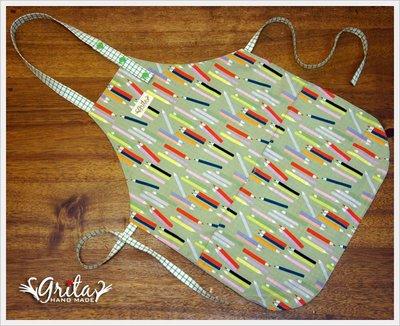 ♥grita's handmade♥純棉手作兒童圍裙(做點心、畫畫、勞作)-色鉛筆(現貨)