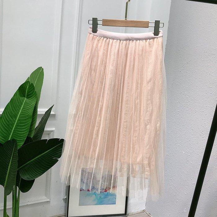 A156 專櫃柔軟網紗拼接鬆緊腰修身顯瘦百褶裙蛋糕裙