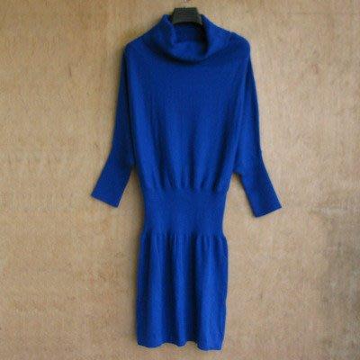 """新貨上架""""冬天防寒大領純藍色羊毛絨流行連身 洋裝 """"這款有修身很美"""