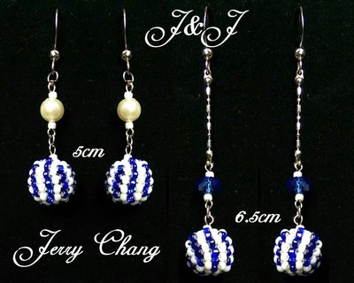 J&j精品~與妳同行~珠寶編織藍白包墬水晶珍珠秀氣耳環