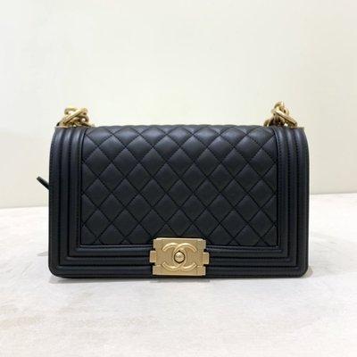 Chanel Boy25 菱格紋 牛皮 復古金釦 黑色《精品女王全新&二手》