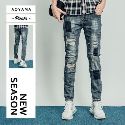牛仔褲 日系古著仿舊刷色膝破造型牛仔褲【E3999】青山AOYAMA