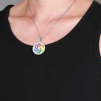 六色彩虹項鍊 吊墜 316鋼 TP 蕾絲邊 同性 生日禮物 BOTH LES GAY 和平 項鍊 沂軒精品 F0048