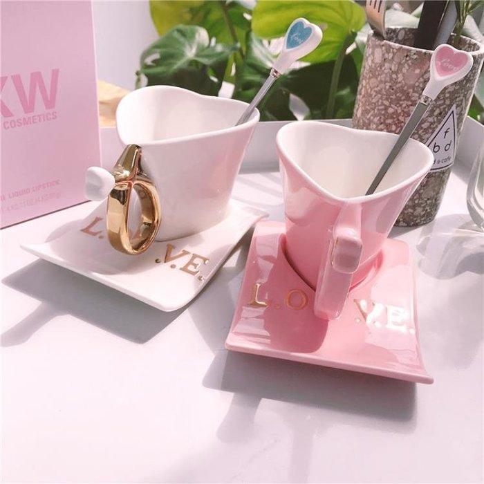 陶瓷馬克杯子陶瓷創意歐式情侶白色粉色杯子簡約愛心咖啡杯水杯