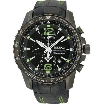 SEIKO Sportura 三眼競速計時腕錶(SNAE97J1)-黑/43mm7T62-0LA0G