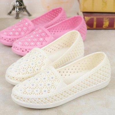 夏季女白色塑膠涼鞋軟底媽媽鞋平底水鉆沙灘鞋GLSJ10817