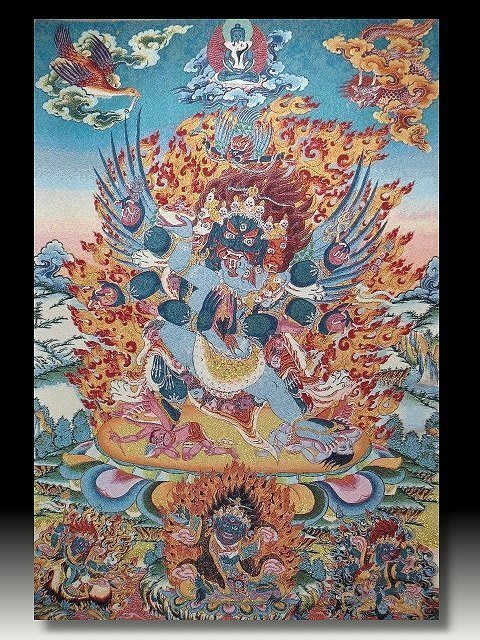 【 金王記拍寶網 】S828 中國西藏藏密佛像刺繡唐卡 刺繡 (大)一張 完美罕見~