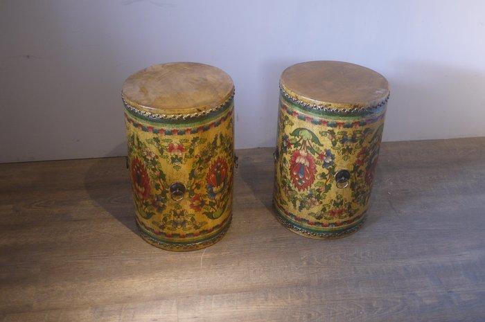 ㊣大匠之風㊣全新仿古***漆器瓶型牛皮鼓可當擺飾或樂器打鼓*另有實木原木傢俱*