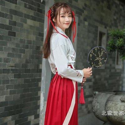 古裝漢服女改良學生班服中國風漢元素日常裝仙女飄逸清新淡雅公主促銷大減價!