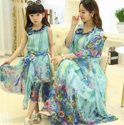 親子裝連身裙 新款夏裝女童波西米亞長裙母女裝女孩公主沙灘裙  洋裝—莎芭
