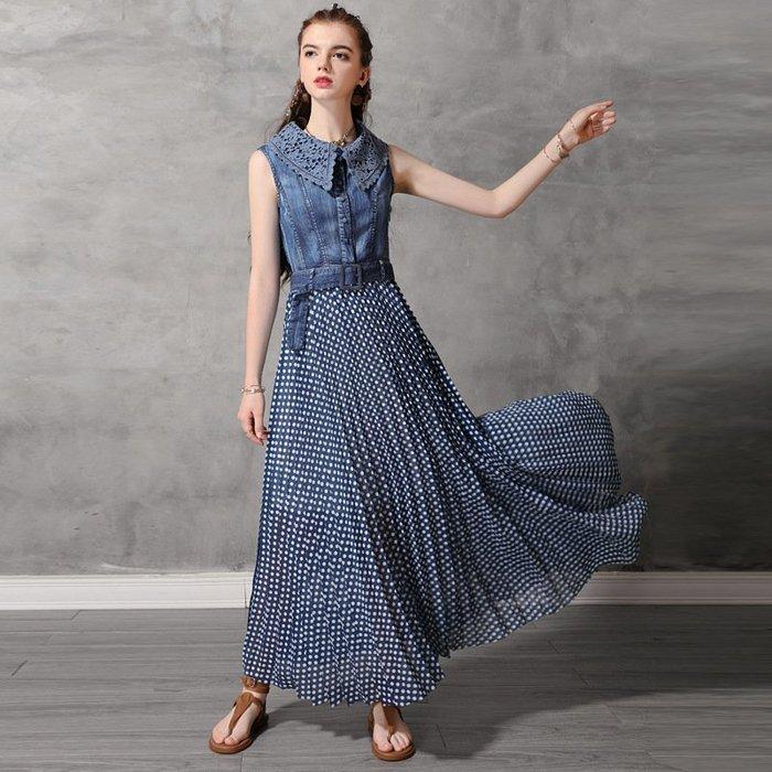 背心長裙 波點 拼接 蕾絲 百摺 牛仔洋裝 連身裙 連衣裙 ~ A82173
