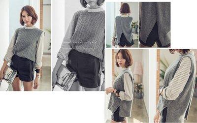 韓版寬鬆短款無袖坎肩開叉毛衣背心針織馬甲女