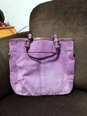 時尚二手屋COACH紫色跡皮大肩背包