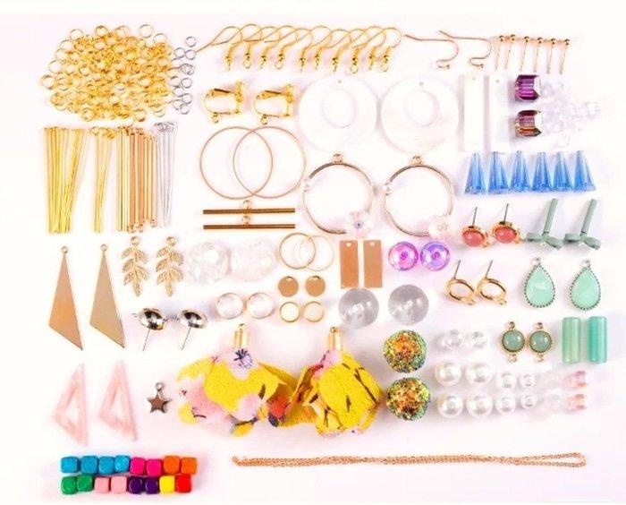 diy耳環材料包 緞帶 流蘇 自製耳釘耳飾品耳墜配件 繽紛糖果款 送小工具及包裝袋  兩套材料包贈分類盒 01