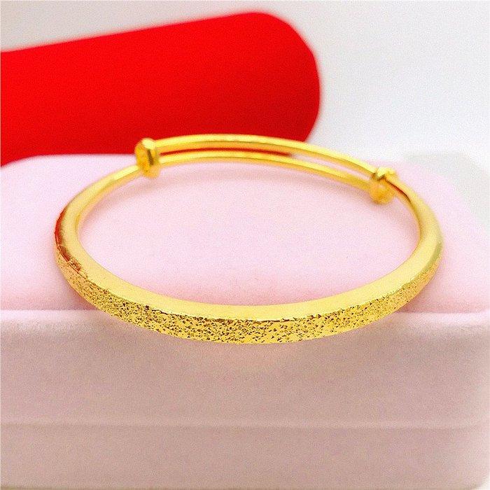 送禮佳品 仿真越南沙金手鐲伸縮推拉式  久不掉色假黃金鐲子銅鍍金首飾品女