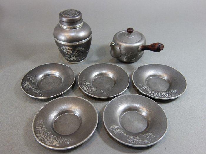『華寶軒』 日本茶道具 昭和時期 本錫製 梅蘭竹菊松 五君子 茶器三件組