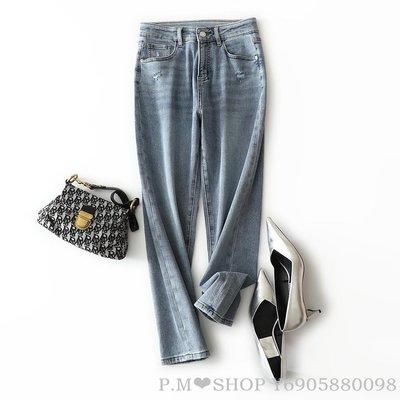 『P.M❤SHOP』春夏季新品 實力顯瘦好穿! 九分彈力棉質直筒牛仔褲