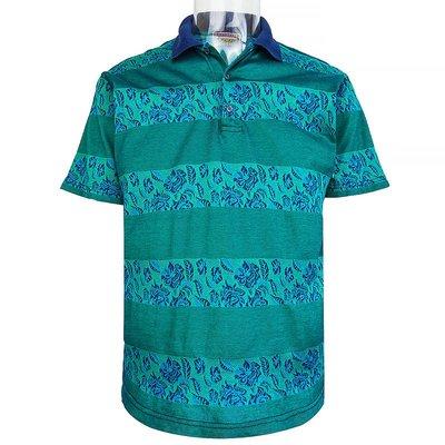 義大利品牌Jockey Euroline藍綠色條紋玫瑰針織短袖polo衫 義大利製