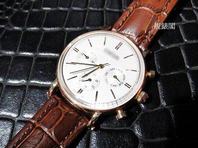 【靚錶閣】BIBA復古凸型鏡片多功能三眼計時腕錶  蝴蝶扣 台北市