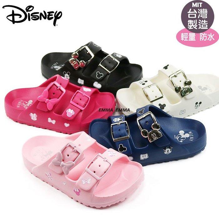 童拖鞋/正版Disney迪士尼米奇米妮造型扣環輕量Q軟防水拖鞋 15-20號