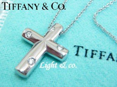 【Light & co.】專櫃真品已送洗 TIFFANY & CO 950 鉑金 單鑽 鑽石 系列 十字架 十字 項鍊