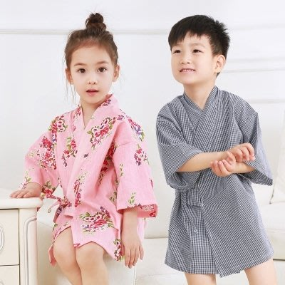 男女兒童純棉睡袍中大小孩寶寶和服袍系帶睡裙簡約薄棉布短款春夏