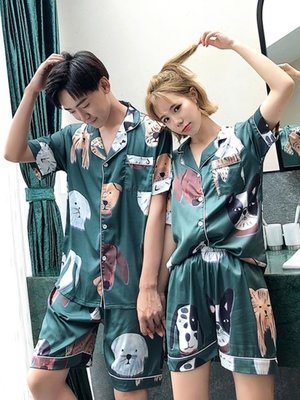 情侶睡衣夏季短袖女兩件套裝卡通可愛薄款韓版春天家居服男士冰絲