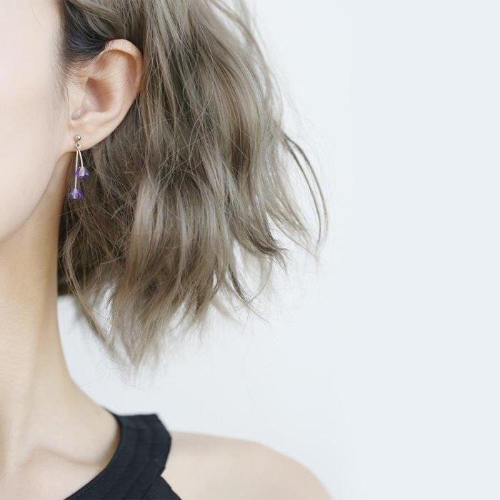 耳釘氣質正韓個性簡約小清新藍色水晶銀質耳環甜美百搭長款耳墜女