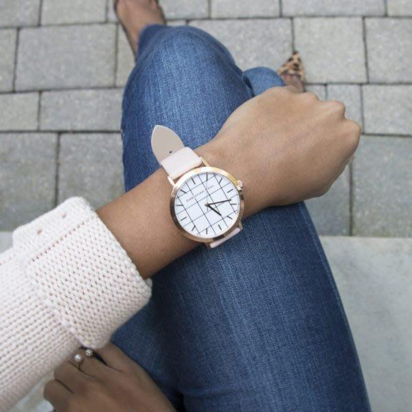 【Christian Paul】澳洲 手錶 ,格紋玫瑰金桃色錶帶43mm,不輸DW、Clu