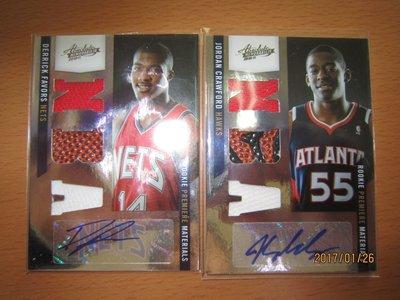 網拍讀賣~Derrick Favors/ Jordan Crawford~各隊球星~NBA球皮球衣RC限量簽名卡/499