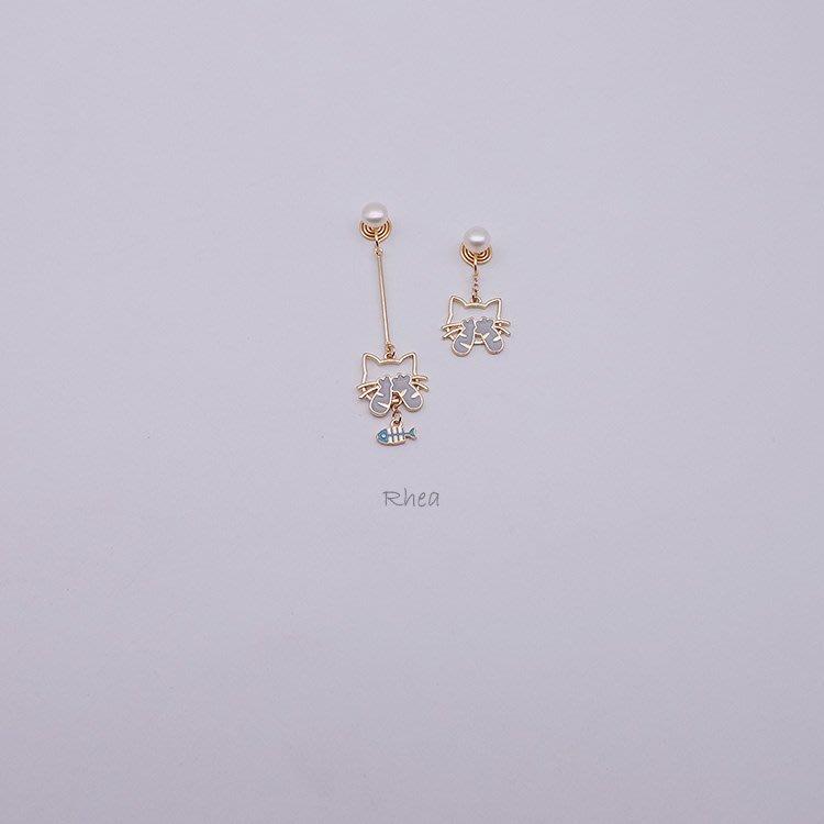 韓國Baby~天然珍珠18K包金長款不對稱可愛貓咪無痛耳釘無耳洞蚊香盤耳夾