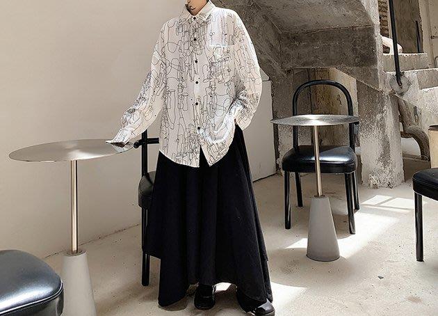 FINDSENSE 2019 秋季上新 G19 黑色白色寬鬆蝙蝠袖抽像印花時尚潮流長袖襯衫 素面襯衫 男裝 上衣