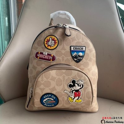 美國大媽代購COACH 3892 迪士尼系列 奶茶色米奇徽章雙肩背包 米老鼠相機包 美國代購